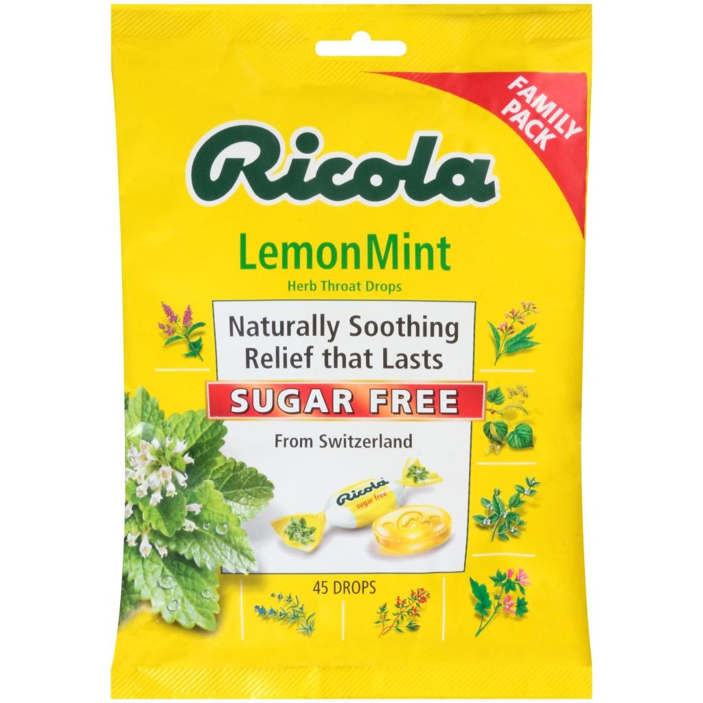 (2 Pack) Ricola Sugar Free Herb Throat Drops, Lemon Mint, 45 Ct